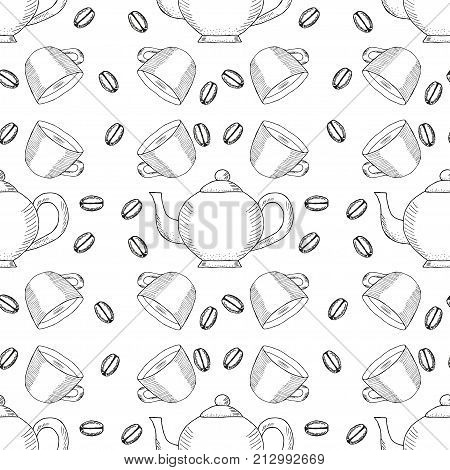 Coffee bean, cup and kettle, ink hand draw seamless pattern. Doodle teapots, coffee kettles isolated. Sketch illustration, for cafe and restaurant menu design, wrapping, wallpaper and packaging.