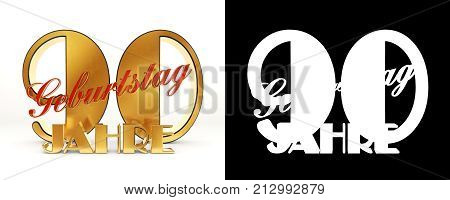 Number Ninety Years (90 Years) Celebration Design. Anniversary Golden Number Template Elements For Y