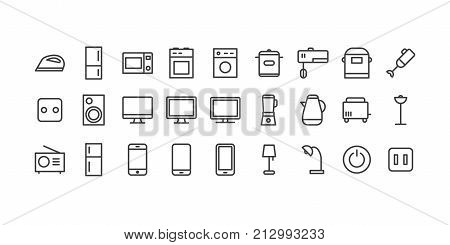 Vector icons set household appliances for home and office for use every day on white background. Modern electronic equipment for using in life