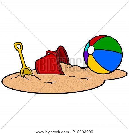 Beach Ball and Sand Bucket - A vector illustration of a Beach Ball and a Sand Bucket.