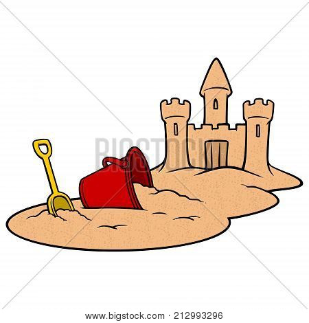 Beach Sandcastle - A vector illustration of a summer beach Sandcastle.