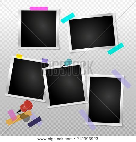 Set frame retro photo on transparent isolated background. Vintage Horizontal blank old photography. Square picture frame with adhesive tape. Vector