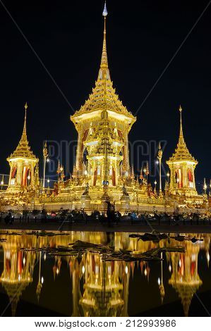 BANGKOK THAILAND - NOVEMBER 2 2017: The Royal Crematorium for HM King Bhumibol Adulyadej at Sanam Luang. After the ceremony was completed the crematorium was open for the public.