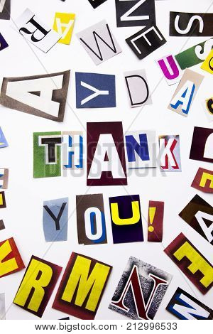 A Word Writing Text Showing Concept Of Thank You, Thanking Made Of Different Magazine Newspaper Lett