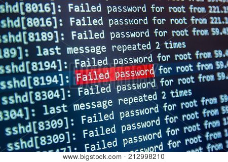 Logging string with failed password for root on screen in bokeh effect
