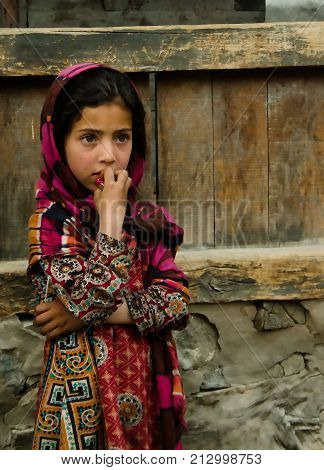 Portrait of Hunza woman in national costume - 09-05-2015 Karimabad Pakistan