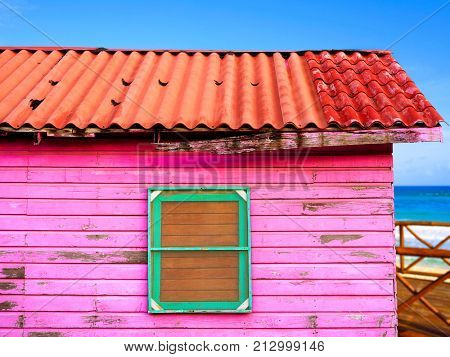 Mahahual Caribbean pink wood painted wall textures in Costa Maya Mexico