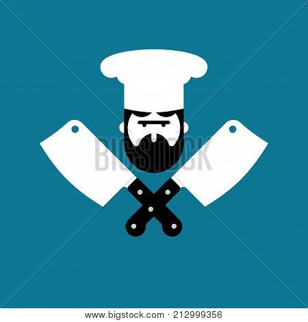 Butcher logo. Chef and knife for meat. Steak House Label. Butcher knife. Sign for restaurant or butchers shop. Vector illustration
