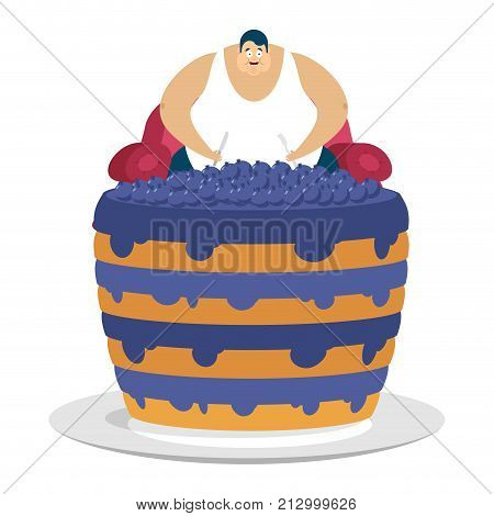 Fat Guy Is Sitting On Chair And Blueberry Cake. Glutton Thick Man And Pie. Fatso Vector Illustration