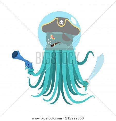 Alien Intruders Space Pirate Octopus. Cosmic Monster Invader. Poulpe In Astronaut  Helmet. Devilfish