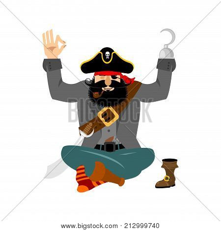 Pirate yoga. filibuster yogi. buccaneer relaxation and cognition. Vector illustration