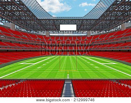 Modern American Football Stadium With Red Seats