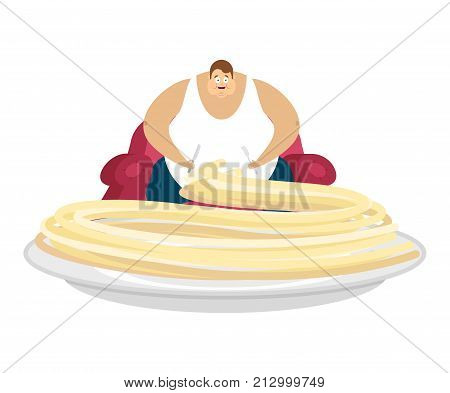 Fat guy is sitting on chair and pasta. Glutton Thick man and food. fatso vector illustration