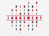 Law concept: Painted red word Judgement in solving Crossword Puzzle poster