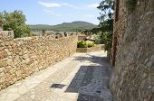 Stone trail with views to the countryside in the medieval village of Pals located in the middle of the Emporda region of Girona Catalonia Spain. poster