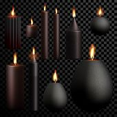 Candles set 3D realistic isolated flame burning on vector transparent background. Black decorative scented paraffin wax candle light poster