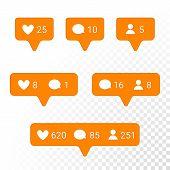 Notifications vector icons templates. Social network app symbols of heart like new message bubble friend request quantity number. Smartphone application messenger interface web notice elements set poster