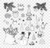 Set of hand-drawn sketchy christmas elements. Doodle sketch vector illustration. Candles, gift boxes. snowmen, pomanders poster