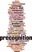 Precognition word cloud concept. Vector illustration on white poster