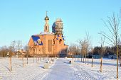 Church in microdistrict Ribatskoe on the outskirts of St. Petersburg Russia. poster