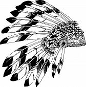 Native American chieftain headdress with feathers. Indian card in a sketch style. Hand drawn patterns for coloring. poster