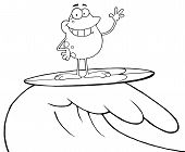 Outlined Surfing Happy Frog Riding A Wave poster