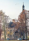 Old lutheran church in Dubulti, Jurmala, Latvia. The church was built in 1909 with traits of asymmetry and national Latvian romanticism style. Architect W. Bokslaf poster