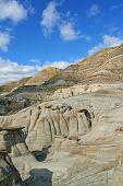 Hoo doos eroded volcanic formations in the badlands of Drumheller in  AlbertaCanada poster