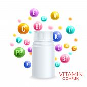 Vitamin complex design template for vitamin pills package advertising. Vector 3D plastic bottle with cup and vitamin ball bubbles with letters of A, B and C and PP or ascorbic acid vitamin D mineral poster