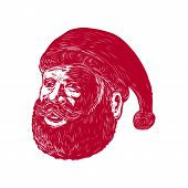 Retro woodcut style illustration of head of Santa Claus , Saint Nicholas, St. Nick or Kris Kringle three-quarter view on isolated background. poster