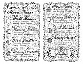 Open diary with hand written lunar magic spells on white. Occult, esoteric, divination and wicca concept. Vintage background with moon phases and hand writing text on old pages poster