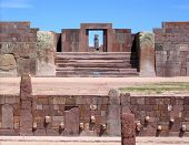 The typical icon view of the Tiwanaku ruins, with the Ponce Monolith aligned with the Kalasasaya Temple main (orient facing) door. In the equinoxes the Sun shines directly into the Ponce monolith. View is from the semi-subterranean little temple. poster