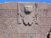 Detail of the Gate of the Sun - with many winged-men (the chasquis), possible working as a calendar. In the center seems to be the god Viracocha, the pre-Inca creator of time, the Sun, the Moon, the Universe, the stars... poster