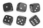 3d rendering of a set of six black dice with white dots hanging in half turn showing different numbers. Lucky dice. Board games. Money bets. poster