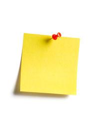 Yellow Reminder Note With Red Pin