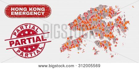 Vector Composition Of Firestorm Hong Kong Map And Red Rounded Textured Partial Watermark. Emergency