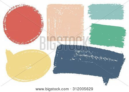 Hand Drawn Callout Clouds And Various Shapes For Backdrops. Vector Textured Multi Color Elements For