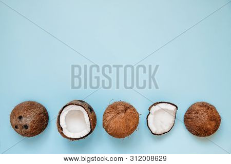 Row Of  Ripe And Opened Coconuts On Blue Background. Top View. Copy Space. Pop Art Design, Creative