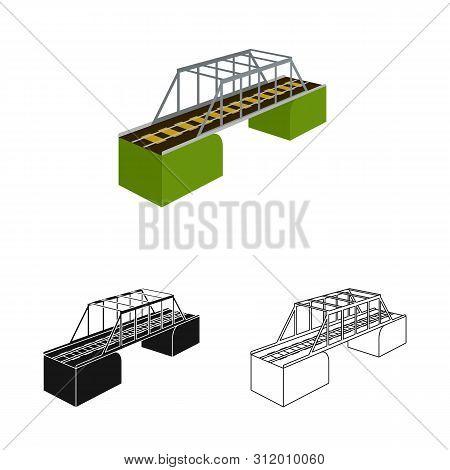 Vector Illustration Of Bridge And Sea Symbol. Set Of Bridge And Columns Stock Vector Illustration.