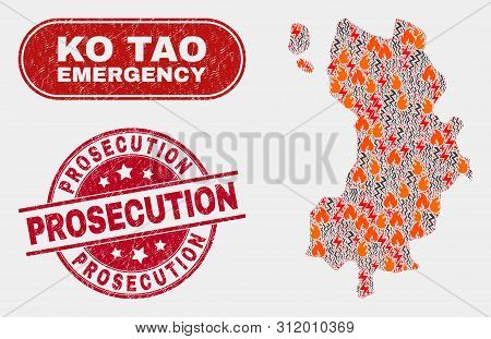 Vector Composition Of Hazard Ko Tao Map And Red Rounded Scratched Prosecution Seal Stamp. Emergency