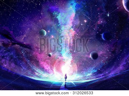 Abstract Artistic Multicolored Dimensional Galactic Nebula Filled With Stars And Planets Hitting A S