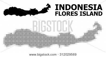 Halftone And Solid Map Of Indonesia - Flores Island Composition Illustration. Vector Map Of Indonesi