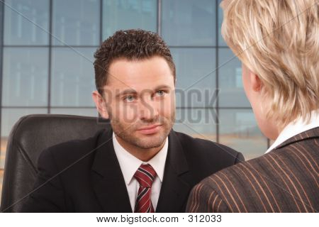 White Business Man And Woman Talk