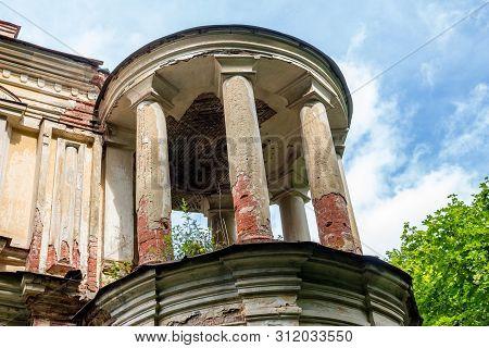 Corner round tower of the Yaroshenko Palace at the end of the 19th century, manor Stepanovskoe-Pavlishchevo. Sanatorium Pavlishchev-Bor, Kaluzhskiy region, Russia - July 2019 poster