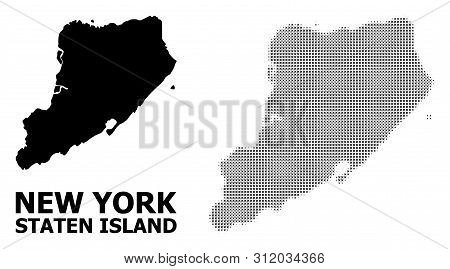Halftone And Solid Map Of Staten Island Composition Illustration. Vector Map Of Staten Island Compos