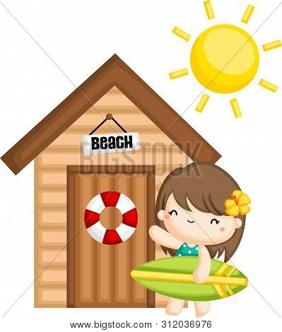 A Vector Of A Girl Surfer In Front Of A Beach House