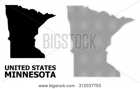 Halftone And Solid Map Of Minnesota State Composition Illustration. Vector Map Of Minnesota State Co