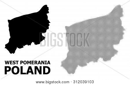 Halftone And Solid Map Of West Pomerania Province Composition Illustration. Vector Map Of West Pomer
