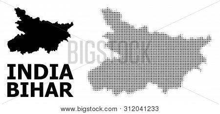 Halftone And Solid Map Of Bihar State Composition Illustration. Vector Map Of Bihar State Compositio