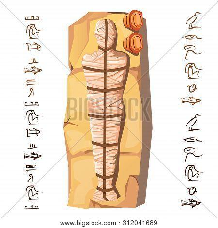 Mummy Creation Cartoon Vector Illustration. Mummification Process Stage, Embalming Dead Body, Human